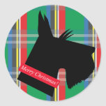 Scottish Terrier Dog Plaid Christmas Sticker