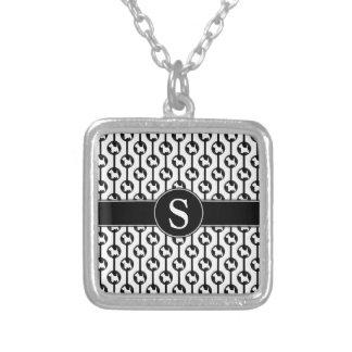 Scottish Terrier Dog Polkadot Monogram Initial Square Pendant Necklace