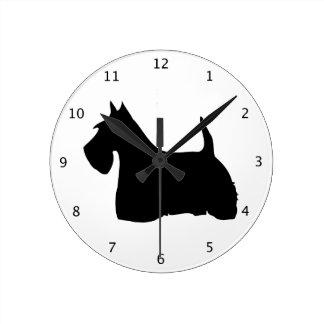 Scottish Terrier dog, scottie black silhouette Round Clock