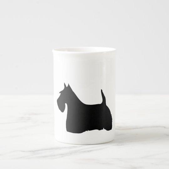 Scottish Terrier dog silhouette bone china mug