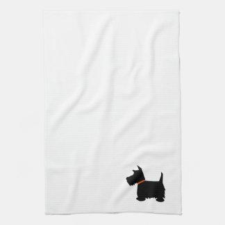 Scottish Terrier dog silhouette kitchen tea towel