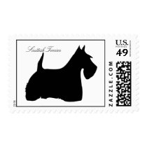 Scottish Terrier dog silhouette postage stamp
