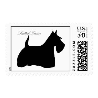 Scottish Terrier dog silhouette postage stamp
