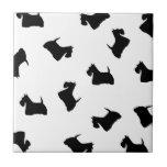Scottish Terrier dogs black silhouette tile trivet