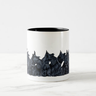 Scottish Terrier Gathering Two-Tone Coffee Mug