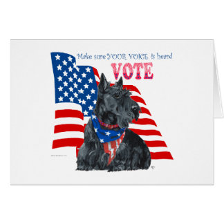 Scottish Terrier Getting out the VOTE Cards