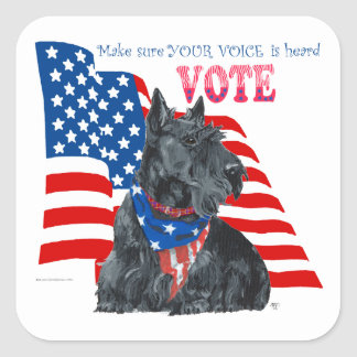 Scottish Terrier Getting out the VOTE Square Sticker