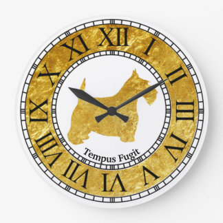 Scottish Terrier Gold with Gold Large Clock