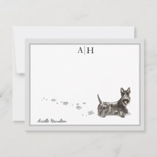 Scottish Terrier Personalized Note Cards Flat Note Cards, Gift for Dog Lovers Rottie Dog Stationery