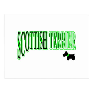 Scottish Terrier Green/Black/White Postcard
