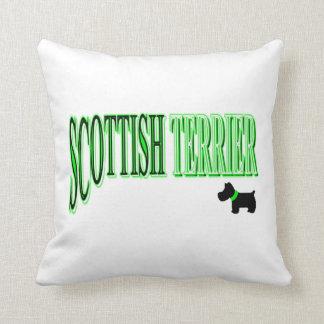 Scottish Terrier Green/Black/White Throw Pillow