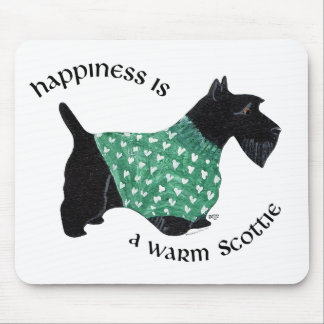 Scottish Terrier - Green Heart Sweater Mouse Pad