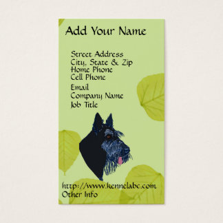 Scottish Terrier Green Leaves Design Business Card