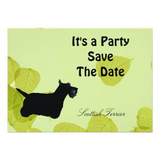 Scottish Terrier Green Leaves Design Personalized Invitation