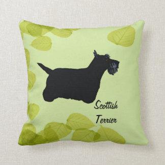 Scottish Terrier ~ Green Leaves Design Throw Pillow