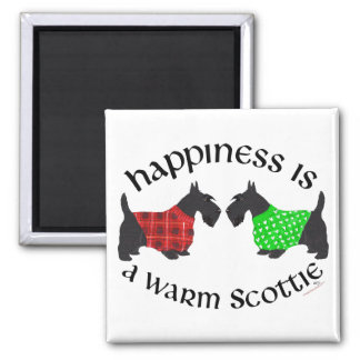 Scottish Terrier Happiness 2 Inch Square Magnet