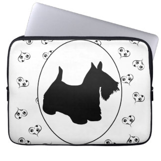Scottish Terrier Hearts and Paw Prints Laptop Sleeve