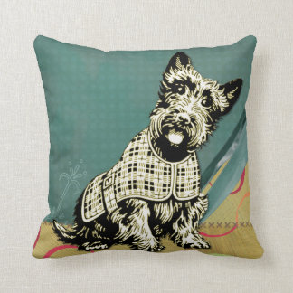 Scottish Terrier Home Decor turquoise pink Throw Pillow