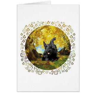 Scottish Terrier in Autumn Woods Card