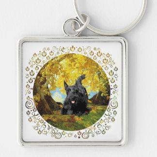 Scottish Terrier in Autumn Woods Keychain