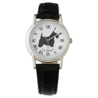 Scottish Terrier in Black Personalize Wrist Watch
