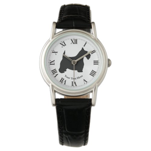 Scottish Terrier in Black Personalize Wrist Watch