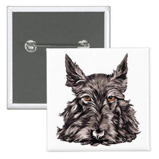 Scottish Terrier in Black Pinback Button