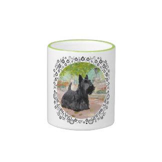 Scottish Terrier in Dappled Sunlight Ringer Coffee Mug