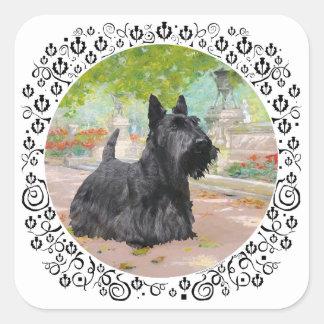 Scottish Terrier in Dappled Sunlight Square Sticker