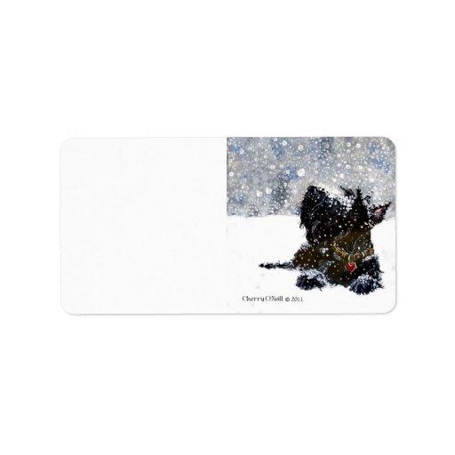 Scottish Terrier in Falling Snow Label