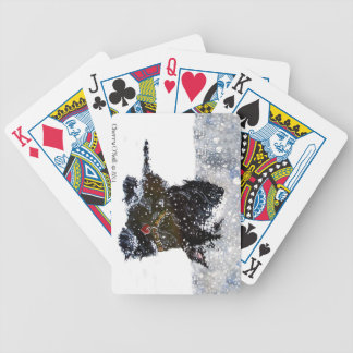 Scottish Terrier in Falling Snow Bicycle Poker Deck