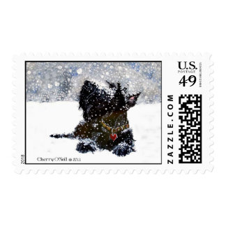 Scottish Terrier in Falling Snow Stamps