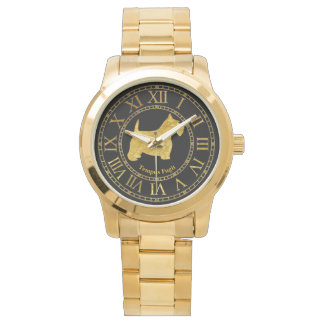 Scottish Terrier in Gold and Black Personalize Watches