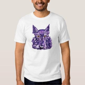Scottish Terrier in Purple Tee Shirt