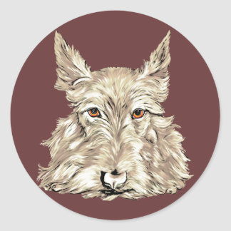Scottish Terrier in Wheaten Classic Round Sticker