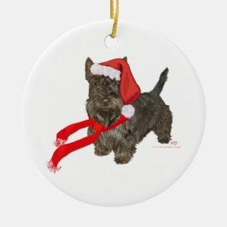 Scottish Terrier is Santa's Helper Ceramic Ornament