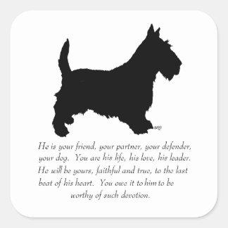 Scottish Terrier Keepsake - MALE Dog Square Sticker