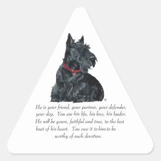 Scottish Terrier Keepsake - MALE Dog Triangle Stickers