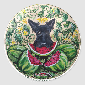 Scottish Terrier Melons Classic Round Sticker
