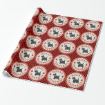 Scottish Terrier Merry Christmas Emblem on Checks Wrapping Paper