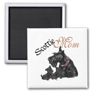 Scottish Terrier Mom & Pups for Mother's Day 2 Inch Square Magnet