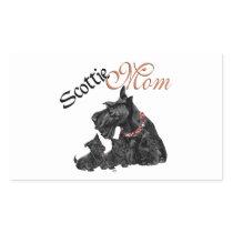 Scottish Terrier Mom & Pups Rectangular Sticker