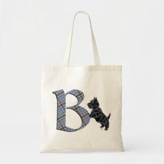 Scottish Terrier Monogram B Tote Bag