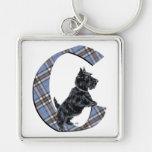 Scottish Terrier Monogram C Keychain
