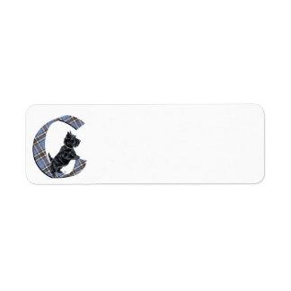 Scottish Terrier Monogram C Label