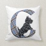 Scottish Terrier Monogram C Pillow