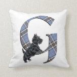 Scottish Terrier Monogram G Pillow