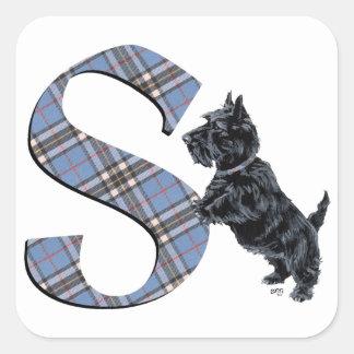 Scottish Terrier Monogram S Square Sticker