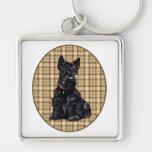 Scottish Terrier on Plaid Keychain