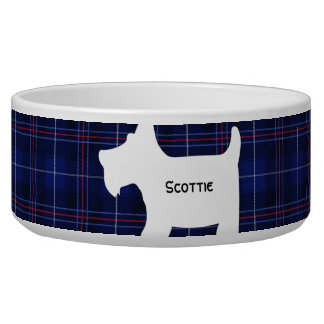Scottish Terrier on Red, White and Blue Tartan Bowl